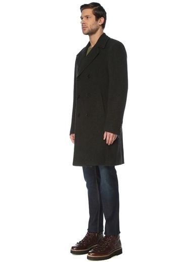 Pal Zileri Pal Zileri Lab 50 Beden Kelebek Yaka Mikro Dokulu Koyu Erkek Yün Palto Yeşil